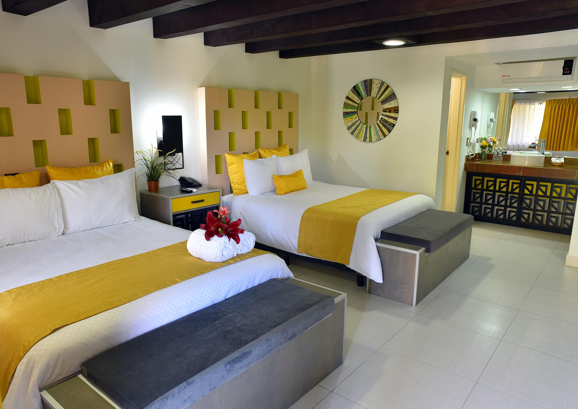 habitacion dos camas hhotel hacienda delr io